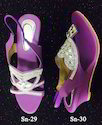 Purple Stone Work Ladies Fashionable Sandals