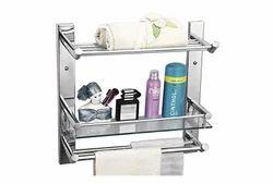 Silver Stainless Steel Ciplaplast Glass Shelf with Towel Rod, Size: 25 X 51.5 X 18.5 Cm