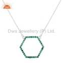 Hexagonal Design Natural Emerald Bead Set Silver Necklace