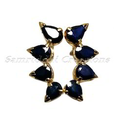 925 Sterling Silver Blue Sapphire Stud Ear Cuff Pair Jewelry