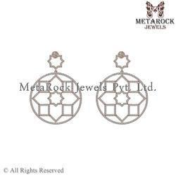 14k Rose Gold Diamond Wedding, Anniversary Dangle Earring
