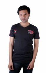 Black Cotton V Neck Fancy T Shirts