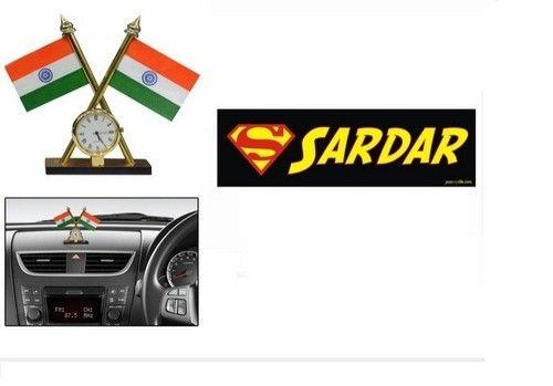 Speedwav car bumper sticker sardar indian flag with c