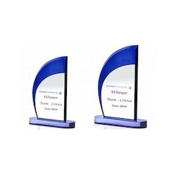 Blue Swoop Acrylic Trophies