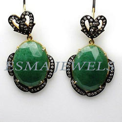 Green Stone  C.Z Earring
