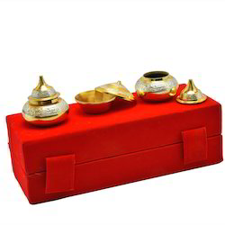 Silver and Gold Plated Haldi Kumkum Set