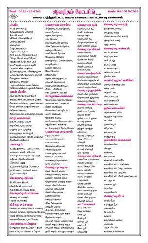 Anandham Catering Menu Card In Kavundampalayam Coimbatore  Id