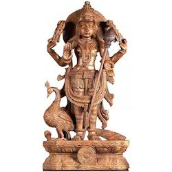 Wooden Statue of Lord Muruga  2 feet
