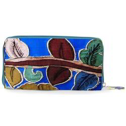 Multicolor Tussar Silk Embroidered Clutch Bag