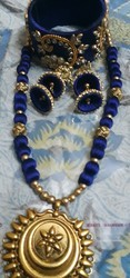 Blue Silk Thread Necklace Set, Occasion: Wedding, Packaging Type: Box