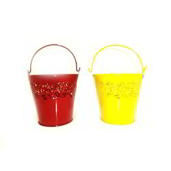 MULTICOLOUR Decorative Small Galvanized Iron Buckets, Size: MULTISIZES