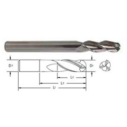 Carbide High Helix 3 Flute Ball Nose End Mills