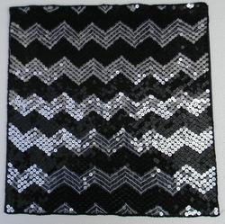 Devini Silver and Black Zig Zag Beaded Placemat, Size: 14 inches