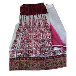 White And Maroon Georgette Semi Stitched Suit