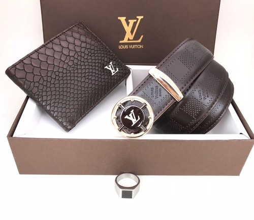 94747535f7ca Lv And Montblanc PU Leather Mens Combos Belt Wallet
