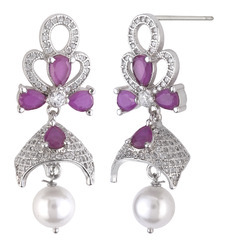 925 Sterling Silver Jumky With Pearl