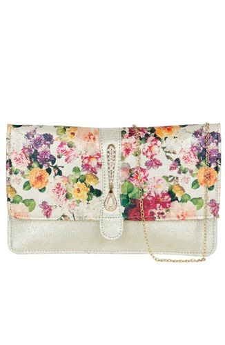 Multi Leatherette Floral Printed Clutch