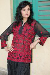 Cotton Full Sleeve Lucknowi Chikan Work Printed Kurtis