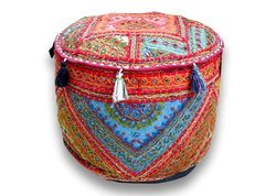 Indian Embroidered Patchwork Ottoman Cover