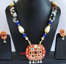 Costume Jewelry Heavy Indian Navratan Pendant