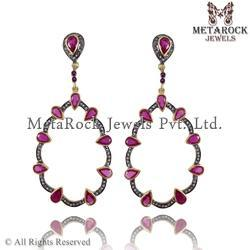 Pink Tourmaline Pave Diamond Gemstone Earrings