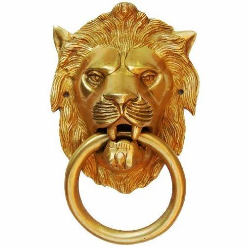 Brass Metal Door Knocker Antique Design Ram Head Gate Handle