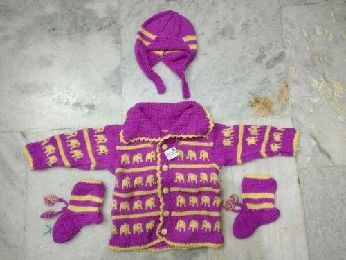 0100b55ab5b966 Girls Magenta Niayamat Hand Knitted Kids Sweater