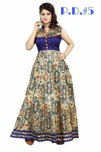 Bhaghalpuri Printed Designer Gown at Rs 899 /piece | Party Gowns ...
