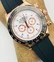 Gold Rolex Rubber Belt Watches For Men