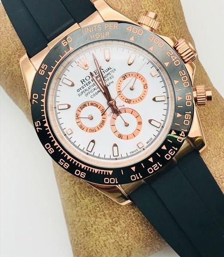 Gold Rolex Rubber Belt Watches For Men, My Fashion Time