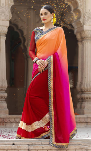 9a238468d86 Georgette Jacquard Triveni Border Worked Red Saree