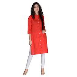 Orange Silk Pintex Kurti  3/4 Sleeves Machine Wash