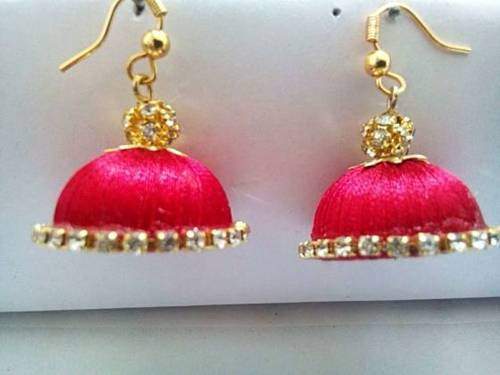 Thread Jhumkas Dazzling In Turquoise Color Manufacturer From Bengaluru