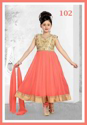 Orange Gold Kids Girls Ethnic Suits