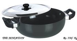 Silver / Black Round Hard Anodised Kadai, For To Cook Food