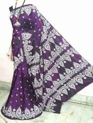 Silk Gujrati Work Embroidered Saree