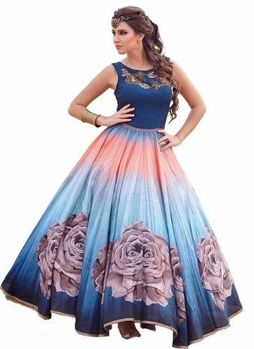 New Designer Multi Colored Party Wear Gowns Dress Material at Rs 800 ...