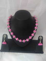 Kundan Handikrafts Pink Silk Thread Necklace Set