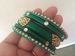 Green Color Silk Thread Bangle