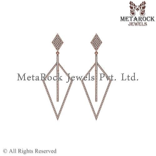 158baa4e9 Latest Design Pave Diamond Rose Gold Earring at Rs 36000 /pair(s ...