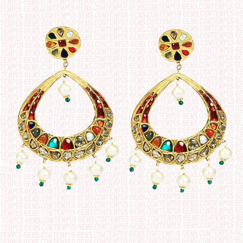 Tempus Gems Reversible Navratna Earring, Size: Normal