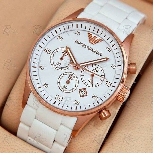 watch white emporio watches mens sportivo armani chronograph