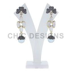 Blue Topaz Gemstone Dangle Earrings
