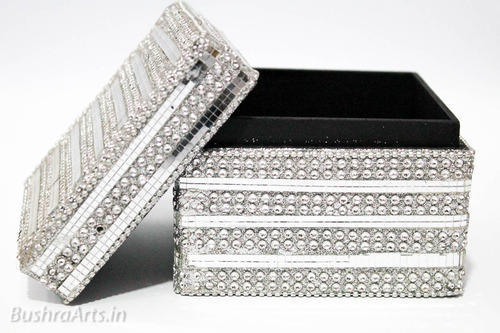 Fancy Jewellery Box Square Glass Silver Handcrafted at Rs 75