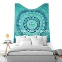 Ombre Indian Mandala Good Luck Elephant Hippie Wall Hanging Hand Screen Printed Tapestry