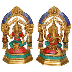 Handecor Multicolor God Laxmi Ganesha Metal Brass Statue With Bell by Aakrati