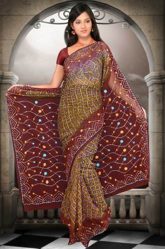 bandhani sarees with mirror work manufacturer from mumbai