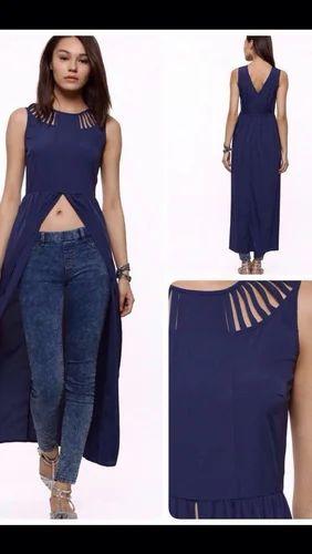 3a2cd3992b0 Blue Plain Designer Maxi Dresses