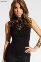 Sleeveless Halter Neck Backless Lace Black Tank Top