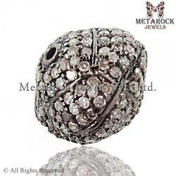 92.5 Sterling Silver Pave Diamond Beads Shape Finding